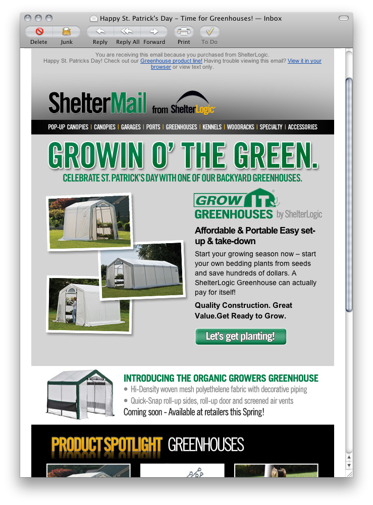 ShelterLogic email campaign - St Patricks Day