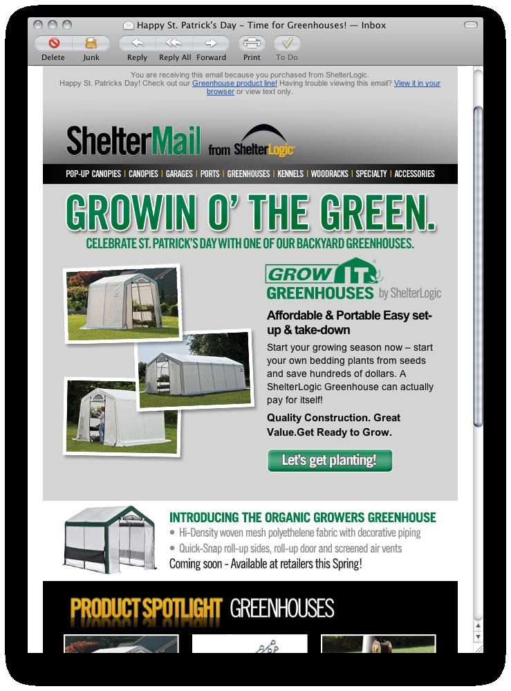 ShelterLogic email campaign - St Patricks Day