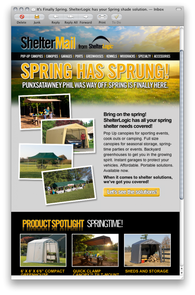 ShelterLogic Spring email campaign