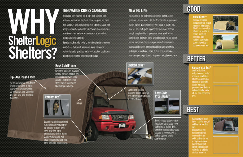 ShelterLogic Print Layout for Canadian Tire magazine.